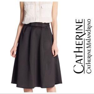 Catherine Malandrino Black Bow Waist A-Line Skirt